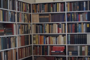 corner bookshelves at Sandburg home