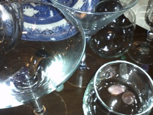 Martini glasses and stones