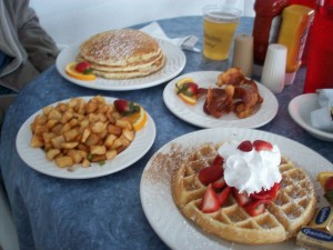waffles, pancakes, strawberries