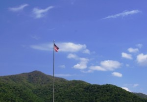 tall flag at mountain